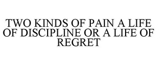 mark for TWO KINDS OF PAIN A LIFE OF DISCIPLINE OR A LIFE OF REGRET, trademark #77426216