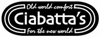 mark for CIABATTA'S OLD WORLD COMFORT FOR THE NEW WORLD, trademark #77467926