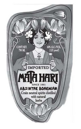 mark for IMPORTED MATA HARI SINCE 1881 ABSINTHE BOHEMIAN GRAIN NEUTRAL SPIRITS DISTILLED WITH NATURAL HERBS CONT. NET. 750 ML 60% ALC./VOL. (120 PROOF), trademark #77488358