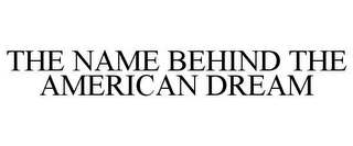 mark for THE NAME BEHIND THE AMERICAN DREAM, trademark #77554910