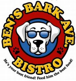 mark for BEN'S BARK AVE. BISTRO HE'S YOUR BEST FRIEND! FEED HIM THE BEST FOOD!, trademark #77576988