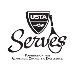 mark for USTA SERVES FOUNDATION FOR ACADEMICS. CHARACTER. EXCELLENCE., trademark #77599111
