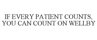 mark for IF EVERY PATIENT COUNTS, YOU CAN COUNT ON WELLBY, trademark #77621349