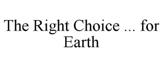 mark for THE RIGHT CHOICE ... FOR EARTH, trademark #77659727