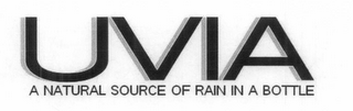 mark for UVIA A NATURAL SOURCE OF RAIN IN A BOTTLE., trademark #77695899