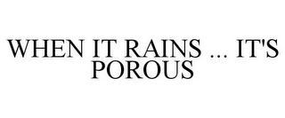mark for WHEN IT RAINS ... IT'S POROUS, trademark #77740173