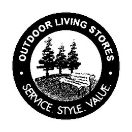 mark for OUTDOOR LIVING STORES SERVICE. STYLE. VALUE., trademark #77871106