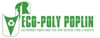 mark for VTR ECO-POLY POPLIN ECO-FRIENDLY FABRIC MADE 100% FROM RECYCLED FIBER & PLASTICS, trademark #77874996