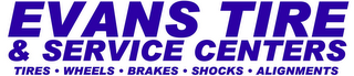mark for EVANS TIRE & SERVICE CENTERS TIRES WHEELS BRAKES SHOCKS ALIGNMENTS, trademark #77894256