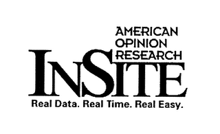 mark for AMERICAN OPINION RESEARCH INSITE REAL DATA. REAL TIME. REAL EASY., trademark #78092079