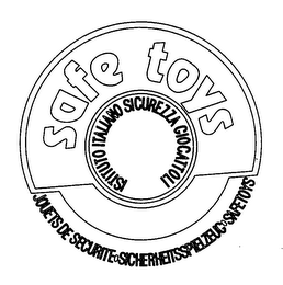 mark for SAFE TOYS ISTITUTO ITALIANO SICUREZZA GIOCATTOLI JOUETS DE SECURITE SICHERHEITSSPIELZEUG SAFETOYS, trademark #78180988