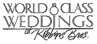 mark for WORLD CLASS WEDDINGS AT ROBBINS BROS., trademark #78266591