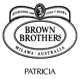 mark for PATRICIA BROWN BROTHERS ESTABLISHED 1889 JOHN F. BROWN MALAWA · AUSTRALIA, trademark #78276008