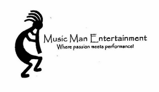 mark for MUSIC MAN ENTERTAINMENT WHERE PASSION MEETS PERFORMANCE!, trademark #78349134
