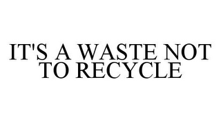 mark for IT'S A WASTE NOT TO RECYCLE, trademark #78368987