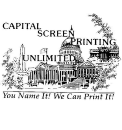 mark for CAPITAL SCREEN PRINTING UNLIMITED YOU NAME IT! WE CAN PRINT IT!, trademark #78378665