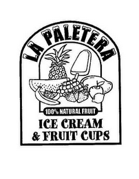 mark for LA PALETERA 100% NATURAL FRUIT ICE CREAM & FRUIT CUPS, trademark #78407268