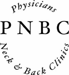 mark for PHYSICIANS NECK & BACK CLINICS PNBC, trademark #78410972