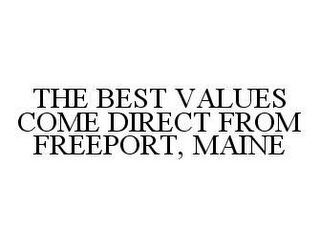 mark for THE BEST VALUES COME DIRECT FROM FREEPORT, MAINE, trademark #78462655