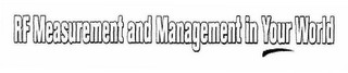 mark for RF MEASUREMENT AND MANAGEMENT IN YOUR WORLD, trademark #78482726