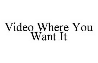 mark for VIDEO WHERE YOU WANT IT, trademark #78550680