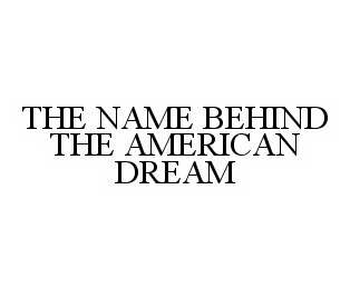 mark for THE NAME BEHIND THE AMERICAN DREAM, trademark #78573350