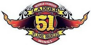 mark for WORLD FAMOUS LADDER 51 FLAME BROILED WINGS, trademark #78610638