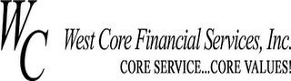 mark for WC WEST CORE FINANCIAL SERVICES, INC. CORE SERVICE..CORE VALUES!, trademark #78624263