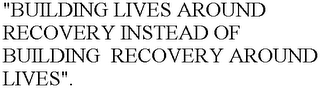 "mark for ""BUILDING LIVES AROUND RECOVERY INSTEAD OF BUILDING  RECOVERY AROUND LIVES""., trademark #78636700"