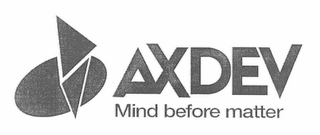 mark for AXDEV MIND BEFORE MATTER, trademark #78657595