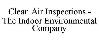 mark for CLEAN AIR INSPECTIONS - THE INDOOR ENVIRONMENTAL COMPANY, trademark #78692260