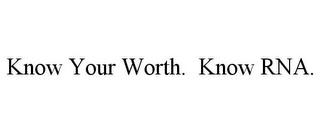 mark for KNOW YOUR WORTH. KNOW RNA., trademark #78732374