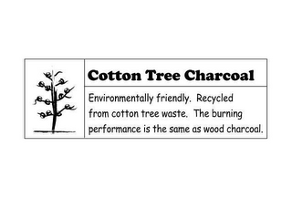 mark for COTTON TREE CHARCOAL ENVIRONMENTALLY FRIENDLY. RECYCLED FROM COTTON TREE WASTE. THE BURNING PERFORMANCE IS THE SAME AS WOOD CHARCOAL., trademark #78774732