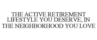 mark for THE ACTIVE RETIREMENT LIFESTYLE YOU DESERVE, IN THE NEIGHBORHOOD YOU LOVE, trademark #78785025