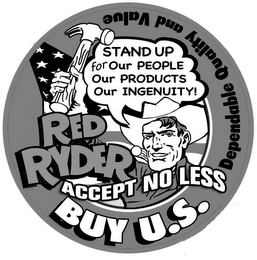 mark for RED RYDER ACCEPT NO LESS   BUY U.S. STAND UP FOR OUR PEOPLE OUR PRODUCTS OUR INGENUITY DEPENDABLE QUALITY AND VALUE, trademark #78787200