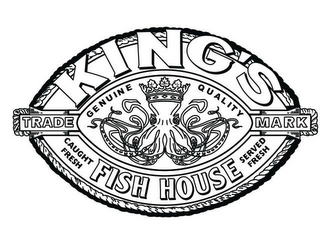 mark for KING'S FISH HOUSE GENUINE QUALITY CAUGHT FRESH SERVED FRESH TRADE MARK, trademark #78821606