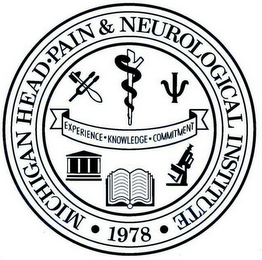 mark for MICHIGAN HEAD · PAIN & NEUROLOGICAL INSTITUTE · EXPERIENCE · KNOWLEDGE · COMMITTMENT · 1978 ·, trademark #78826705