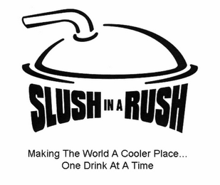 mark for SLUSH IN A RUSH MAKING THE WORLD A COOLER PLACE . . . ONE DRINK AT A TIME, trademark #78848601