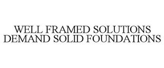 mark for WELL FRAMED SOLUTIONS DEMAND SOLID FOUNDATIONS, trademark #78852230