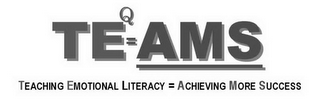 mark for TEQ=AMS TEACHING EMOTIONAL LITERACY = ACHIEVING MORE SUCCESS, trademark #78923207