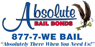 "mark for ABSOLUTE BAIL BONDS 877-7-WE BAIL ""ABSOLUTELY THERE WHEN YOU NEED US!"", trademark #78923556"