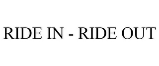 mark for RIDE IN - RIDE OUT, trademark #78961391