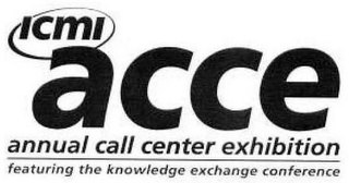 mark for ICMI ACCE ANNUAL CALL CENTER EXHIBITION FEATURING THE KNOWLEDGE EXCHANGE CONFERENCE, trademark #78961966