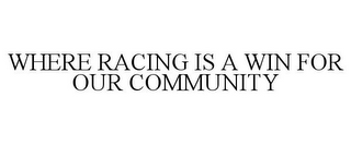mark for WHERE RACING IS A WIN FOR OUR COMMUNITY, trademark #78967711