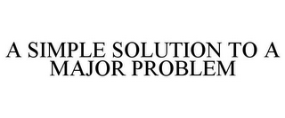 mark for A SIMPLE SOLUTION TO A MAJOR PROBLEM, trademark #78974595