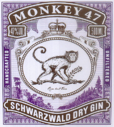 mark for MONKEY 47 SCHWARZWALD DRY GIN HANDCRAFTED UNFILTERED, trademark #79086380