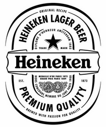 mark for HEINEKEN EST. 1873 ORIGINAL RECIPE BREWED WITH PASSION FOR QUALITY HEINEKEN LAGER BEER PREMIUM QUALITY DIPLOME D'HONNEUR AMSTERDAM 1883 TRADE MARK HORS CONCOURS MEMBRE DU JURY PARIS 1900 MEDAILLE D'OR PARIS 1875 GRAND PRIX PARIS 1889, trademark #79089890