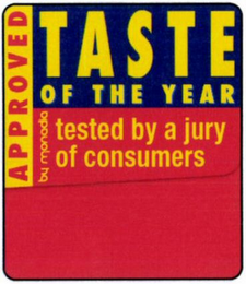 mark for TASTE OF THE YEAR TESTED BY A JURY OF CONSUMERS APPROVED BY   MONADIA, trademark #79107078