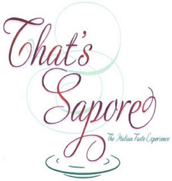 mark for THAT'S SAPORE THE ITALIAN TASTE EXPERIENCE, trademark #79113667