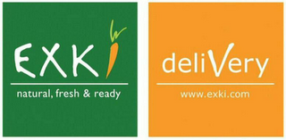 mark for EXKI DELIVERY NATURAL, FRESH & READY DELIVERY WWW.EXKI.COM, trademark #79120707